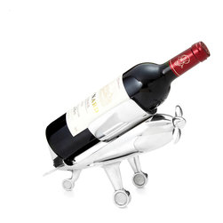 Modern Plated Steel Bottle Holder With Corkscrew Propeller - Give your newest red or white the first class treatment with this winged bottle holder. A petite replica of a vintage-style airplane, this charming design comes complete with a spinning propeller that pulls out to reveal an included corkscrew. Set out as a unique display for your wine collection or gift to your favorite frequent flyer.