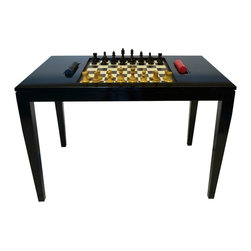 """Chess Table - Tricorn Black - Backgammon not your game? Then here is your table. The oomph Chess Table is a combination of elegant lacquer, luxe leather, and beautifully carved chess pieces � one of our most impressive tables suitable for any home and any game lover. This table also comes with """"men"""" for checkers. Also available - Contemporary Man Ray Chess Pieces - sold with the table or separately (see Accessories). Custom color available. Made in the U.S.A."""