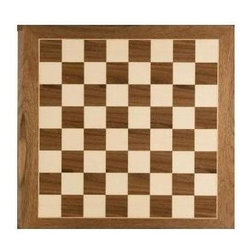 Cambor - Master Checkers & Chess Board in Maple & Walnut Finishes - Made of Wood. Made in Spain. Maple/Walnut color. Squares: 2 in.. 20 in. L x 20 in. W x 0.625 in. H (7 lbs.)