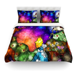 """Kess InHouse - Mandie Manzano """"Fairy Tale Alice in Wonderland"""" Cotton Duvet Cover (Queen, 88"""" x - Rest in comfort among this artistically inclined cotton blend duvet cover. This duvet cover is as light as a feather! You will be sure to be the envy of all of your guests with this aesthetically pleasing duvet. We highly recommend washing this as many times as you like as this material will not fade or lose comfort. Cotton blended, this duvet cover is not only beautiful and artistic but can be used year round with a duvet insert! Add our cotton shams to make your bed complete and looking stylish and artistic! Pillowcases not included."""