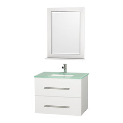 Wyndham - Centra Vanity 30in. in White w/ Green Glass Top & Square sink - Simplicity and elegance combine in the perfect lines of the Centra vanity by the Wyndham Collection. If cutting-edge contemporary design is your style then the Centra vanity is for you - modern, chic and built to last a lifetime. Available with green glass, white carrera marble or pure white man-made stone counters, and featuring soft close door hinges and drawer glides, you'll never hear a noisy door again! The Centra comes with porcelain, marble or granite sinks and matching mirrors. Meticulously finished with brushed chrome hardware, the attention to detail on this beautiful vanity is second to none.