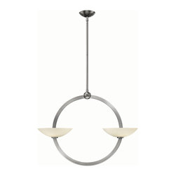 Fredrick Ramond - Method FR40754 - Chandelier | Fredrick Ramond - Hinkley Lighting Method�_FR40754�_chandelier from the Fredrick Ramond collection features steel construction and etched opal glass shade. Method's contemporary stem hung chandelier collection creates a unique balancing effect with low profile etched opal glass appearing to pierce the circular frame of either Brushed Nickel or Vintage Bronze. �_ Manufacturer:�_HinkleySize: 33.8 in. width x 25.8 in. height x 6 in. canopy diameter x 120 in. leadwire Light Source: 4 x 60W / 120V G9 halogen - includedCertifications: --Dimmable�_with standard dimmer switch