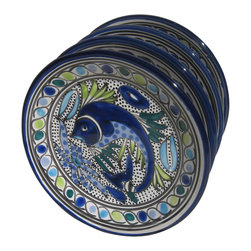 Le Souk Ceramique - Aqua Fish Side Plate - Set of 4 - Set of 4. 8 in. wide. Hand Painted . Hand Made . Dishwasher safe . Microwave safe . Made in Tunisia. Lead free glazes . Meets CA Prop 65 . Meets all Federal StandardsThe Aqua Fish pattern is a classic. Drenched in cool hues of azure, aqua and sea green and a coveted deep cobalt blue, Aqua Fish is a design awash in fun. Just imagine a summer seafood feast served with these bowls and platters.