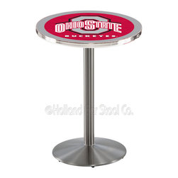 Holland Bar Stool - Holland Bar Stool L214 - Stainless Steel Ohio State Pub Table - L214 - Stainless Steel Ohio State Pub Table belongs to College Collection by Holland Bar Stool Made for the ultimate sports fan, impress your buddies with this knockout from Holland Bar Stool. This L214 Ohio State table with round base provides a commercial quality piece to for your Man Cave. You can't find a higher quality logo table on the market. The plating grade steel used to build the frame ensures it will withstand the abuse of the rowdiest of friends for years to come. The structure is 304 Stainless to ensure a rich, sleek, long lasting finish. If you're finishing your bar or game room, do it right with a table from Holland Bar Stool. Pub Table (1)