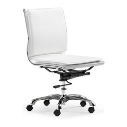 Zuo Modern - Zuo Lider Plus Armless Office Chair in White - Armless Office Chair in White belongs to Lider Plus Collection by Zuo Modern With its ergonomic shape, padded back and seat cushions, the Lider Plus armless chair works in comfort. It has a chromed steel frame with soft neoprene arm pads. DISCLAMER: Zuo Modern Contemporary, Inc. is not affilliated with Herman Miller, Inc. and its products are not affilliated with Eames Aluminum Group or Softpad products. . Office Chair (1)