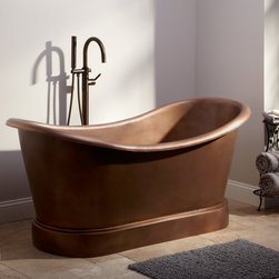 Larimore Copper Double-Slipper Tub - Smooth lines and a simplified plinth design will make this double-slipper tub a stylish addition to your bathroom. Made of solid copper and hand waxed for easy maintenance, it should be used with a freestanding or wall-mounted faucet.