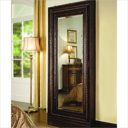 Hooker Furniture - Hooker Furniture Floor Mirror with Hidden Jewelry Storage 500-50-656 - This handsome floor mirror opens to reveal a delightful surprise: hidden, felt-lined jewelry storage. It has a rich brown gesso finish with black rub-through and gold highlights and a heavily gadrooned frame with rope molding that acts as the door pull.