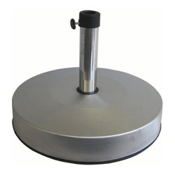Greencorner - Stainless Steel Sand or Concrete-Fillable 50 lb Umbrella Base - Attractive stainless steel cover, ships empty for a low cost alternative to dead-weight umbrella stands. Fill with sand or concrete for 50 lbs of resistance. Includes tube adapters to hold most common umbrella sizes
