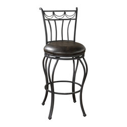 """American Heritage - American Heritage Abella Stool in Aged Iron with Tobacco Leather - 26 Inch - Curved lines enhance the framework of this elegant high-backed stool. finished in Aged Iron with a Tobacco bonded leather seat with a full-bearing 360� swivel, adjustable leg levelers, and a 3"""" bonded leather cushion, this metal beauty will add both softness and tough durability to your decor."""