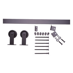 Nw Artisan Hardware - Classic Top Mount Barn Door Hardware, Brushed, 8 ft - The Classic Top Mount sliding barn door hardware utilizes a 3_ wheel and top mount hanger to create a low profile, modern look that works with just about every door imaginable. A popular item since the creation of NW Artisan Hardware.