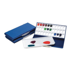 Martin Universal - Martin Universal Airtight/Leak-Proof Fusian Watercolor Palette - 92-WP3033B - Shop for Paints from Hayneedle.com! The Martin Universal Airtight/Leak-Proof Fusian Watercolor Palette is great for the classroom studio or on-site. This palette is lightweight compact and portable offering a large number of paint slants and a generous mixing tray. When folded this palette is airtight leak-proof and seals in moisture.About Martin Universal/F. Weber Co.For a century and a half the name Martin Universal and F. Weber Co. have been synonymous with quality art materials. Established in 1853 in Philadelphia Pa. the Martin/Weber is the oldest and one of the largest manufacturers of art materials in the United States.