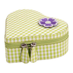 Wolf Designs - Heart zip case - Green - Our Heart Zip jewelry case makes a great travel companion for any little princess. Inside of this heart shaped green case are two open compartments, an enclosed compartment and a ring roll. The outside of the case and the inner compartment lid are lined in a green and white gingham pattern. For contrast, the interior is lined in purple with white polka dots.