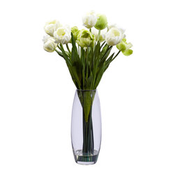 Nearly Natural - Nearly Natural Tulip with Vase Silk Flower Arrangement - Stately and proud, this incredible tulip arrangement will be a focal point of your decor for years to come. A bevy of tulip stalks rest in a clear vase (complete with liquid illusion faux water), providing the perfect base for the delicate blooms above. Verdant leaves complete the picture, giving this tulip arrangement a distinct look that will stand the test of time. Perfect for home, office, or even makes a great gift.