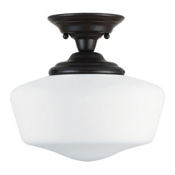 Sea Gull Lighting Academy Fluorescent 1-Light Medium Semi-Flush Mount - 13W in. - There's not too many fixtures out there that can give you the benefits of modern design while honoring its traditional roots like the Sea Gull Lighting Academy Fluorescent 1-Light Medium Semi-Flush Mount - 13W in. Heirloom Bronze. This appealing and ENERGY STAR-rated fixture employs a single, 18-watt GU24 base bulb inside a wide shade of satin schoolhouse glass. The metal base has a classic bronze finish that can easily fit in alongside most any traditional home decor style.