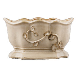 Oriental Danny - Hand Made Ceramic Pot With Leafy Design - Hand made ceramic pot in scalloped oval shape. Neutral color with leafy design. Great for plants and flower arrangement. Can be used indoors or outdoors.