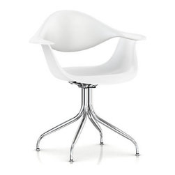 Herman Miller - Herman Miller Nelson Swag Leg Armchair - Even though this beauty is over 50 years old, it still has great legs. Designed by George Nelson, a recyclable polypropylene seat sits atop a curved, metal tube base. Light in scale with a sculpted silhouette that's perfectly suited to today's modern spaces, it looks right at home seated at your dining table or desk.