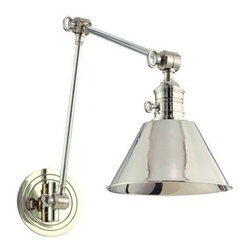 Hudson Valley Lighting - Hudson Valley Lighting 8323 Garden City 1 Light Swing Arm Wall Sconce - Garden City's adjustable sconces embody the tradition of ingenious American design. Restoration style shapes the industrial socket holder and rings the machined details on the cast metal backplate. We wire Garden City with an on/off switch, making it ideal for a bedside reading lamp or as a replacement fixture in historic homes that lack a separate wall switch.Dimensions: