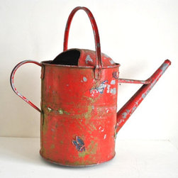 Vintage English Farmhouse Watering Can, Red by Guidoux Vintage - I must have this vintage red watering can — just for looks.