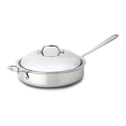 All-Clad Stainless Steel 4 Qt. Saute Pan With Domed Lid - Saute  brown  and sear with the All-Clad 4-Qt. Stainless Steel Saute Pan. The pan includes a domed lid.  This classic pan's large surface area and tall  straight sides prevent splattering and allow for easy turning with a spatula. As with all cookware from All-Clad's Stainless Collection  this piece has a stick-resistant 18/10 stainless steel interior and bonded three-ply construction with an aluminum core to deliver even heating. The saute pan has two handles--a long  riveted stick handle  plus an additional loop handle on the pan's opposite side.  Product Features      Premium tri-ply construction delivers even heat distribution   Interior starburst finishing provides superior stick resistance   Engraved capacity marking on the bottom of the pan   Long stick handle stays cool on the cooktop   Easy grip riveted loop handles provides stability   18/10 stainless steel cooking surface will not react with food