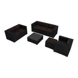 Harmonia Living - Urbana 5 Piece Wicker Patio Sofa Set, Spectrum Coffee Cushions - The Harmonia Living Urbana 5 Piece Wicker Outdoor Sofa Set with Brown Sunbrella cushions (SKU HL-URBN-CB-5SS-CO) is a practical choice for those who love to entertain outdoors. Few modern outdoor sofa sets offer this level of quality and design at such an affordable price. The brushed aluminum feet and bold clean lines give this set a modern look. The resin wicker has a rich textured look that rivals natural rattan wicker while being significantly more durable. Its durable, reinforced aluminum frames and fade-resistant High-Density Polyethylene (HDPE) wicker keep this outdoor sofa set looking great for years and years. Enjoy your patio or backyard with this contemporary outdoor sofa set.