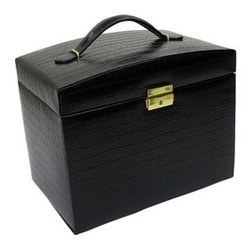 Morelle - Jackquilyn Small Leather Illuninated Box, Black. - A smart leather handle and shiny key closure are just the beginning of this spacious and sophisticated leather jewelry box. Features five drawers and two snap-open side panels for chains and necklaces. An additional top panel with mirror opens to provide ample storage for pearls and trinkets. Also includes a mini lift-out takeaway box useful for travel. Newly patented stage like LED lighting will illuminate your jewels, and make them sparkle.