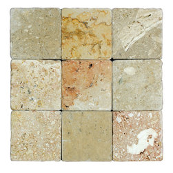 STONE TILE US - Stonetileus 10 pieces (10 Sq.ft) of Mosaic Toscana 4x4 Tumbled - STONE TILE US - Mosaic Tile - Toscana 4x4 Tumbled Specifications: Tile size: 4x4 Stone tiles have natural variations therefore color may vary between tiles. This tile contains mixture of white - light brown - dark brown - yellow - red - ivory - and color movement expectation is high variation, Tumbled comes with the convenience of high quality and easy installation advantage. This tile has Tumbled surface, and this makes them ideal for walls, kitchen, outdoor, Recommended use: Indoor - Outdoor - High traffic - Low traffic - Recommended areas: Toscana 4x4 Tumbled tile ideal for walls, kitchen, Free shipping..Stonetileus 50 pieces (5.5 Sq.ft)
