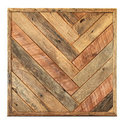 Herringbone Wall Art - This herringbone pattern wall art is made from reclaimed wood salvaged from old barns in rural Missouri. It comes ready to hang.