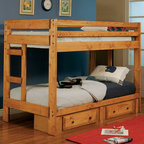 Coaster - Wrangle Hill Twin/Twin Bunk Bed With Underbed Storage - This twin over twin bunk bed is made of solid pine construction for durability with an amber wash finish. The under bed storage option allows space for extra linens, clothing, or toys within the two storage drawers. The lower bunk features a 300 lb. weight limit, while the top bunk features a 200 lb. weight limit.