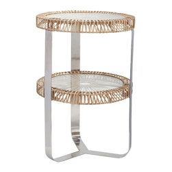 Lazy Susan - Lazy Susan 466035 Natural Split Rattan Side Table - Grassy, glassy, glossy and gorgeous, this table is perfect for your rustic and refined style. It has clean, modern lines and is sure to create a stir with its unusual pairing of materials — two rattan-wrapped glass shelves surrounded by sleek, shiny steel legs.