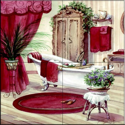 The Tile Mural Store (USA) - Tile Mural - Victorian Bath II  - Kitchen Backsplash Ideas - This beautiful artwork by Jerianne Van Dijk has been digitally reproduced for tiles and depicts a warm bath scene.    This bathroom theme tile mural would be the perfect addition to your bathroom tile wall tile project. Make your bathroom feel like a spa with this beautiful bathroom wall tile mural.