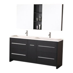 "Design Element - Design Element DEC079A Perfecta 63"" Double Sink Vanity Set in Espresso - Design Element DEC079A Perfecta 63"" Double Sink Vanity Set in Espresso"