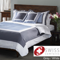 None - Swiss Comforts Cotton 5-piece Duvet Cover Set - This Swiss Comforts five-piece duvet cover set is designed with a border pattern and will have your bedroom decorated in luxurious style. This Hotel Design gives any room a burst of color and fashion.