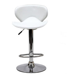 Modway - Modway EEI-580 Booster Bar Stool in White - The Booster Bar Stool is a great choice for folks who want a bar stool with the comfort of an ergonomic shape. The seat is as comfortable as the back is supportive and the winged design makes this stool stand apart from the rest.