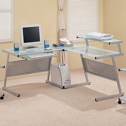 Coaster - Silver Contemporary Desk - Silver finished metal computer workstation with a frosted glass desk top, corner wedge and shelf.