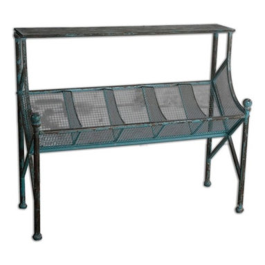 Uttermost - Generosa Iron Bookshelf Table - Clever organization built in turquoise crackle, forged iron with oxidized black undertones.