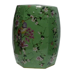 Golden Lotus - Chinese Green Color Hand Painted Flower Bird Porcelain Hexagon Stool - This is a porcelain hexagon shape stool ottoman with gren base color. The flower and birds graphic on the surface is hand painted. ( minor variation in the position of the graphic )