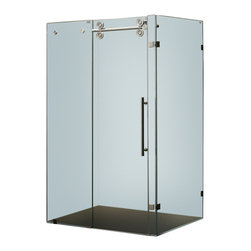 Vigo - Vigo 36 x 60 Frameless 3/8in.  Frosted/Stainless Steel Shower Enclosure Left - This Vigo frosted shower gives you a privacy level that enhances your shower experience.