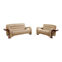 Global Furniture USA - U992 Cappuccino Bonded Leather Three Piece Sofa Set With Wood Accents - The U992 sofa set will add a stylish modern look to any decor it's placed in. This sofa set comes upholstered in a beautiful cappuccino bonded leather in the front where your body touches. Skillfully chosen match material is used on the back and sides where contact is minimal. High density foam is placed within the cushions for added comfort. Each piece features wood trim accents that run along the edges of the arms with a mahogany finish. The price shown includes a sofa, loveseat, and chair only.