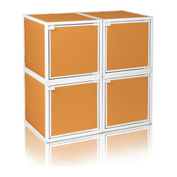 Way Basics - BOX (4 cubes), Orange - Box will easily stack, connect and align to create your perfect organizer! Form a 4-tiered nightstand or a side by side double cubby and accessorize with a door to hide that inevitable clutter. The simple, modern design of the Bo will complement and adorn any room.