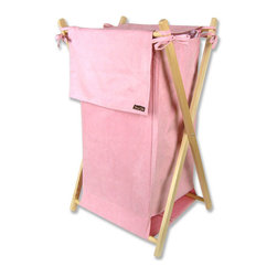 "Trend Lab - Hamper Set - Pink Ultrasuede - Trend Lab's Pink Ultrasuede Hamper is a decorative solution for quick clean up in your nursery, bathroom or laundry room. The pink ultrasuede body and outer flap easily attaches to the collapsible pine wood frame. Machine washable inner mesh liner is removable making the transport of laundry effortless. Assembled hamper measures 27"" x 15"" x 15""."