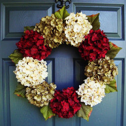 Holiday & Fall Wreath from HomeHearthGarden - Hydrangeas are blooming!! These artificial hydrangea flower heads are gorgeous and make a beautiful front door wreath. The spring and summer colors combine to create a seemingly endless summer door decoration. A wreath that brings life to your front door or over the hearth, welcoming your guests to your front door.