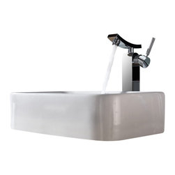 Kraus - Kraus White Rectangular Ceramic Sink and Unicus Faucet Chrome - *Add a touch of elegance to your bathroom with a ceramic sink combo from Kraus