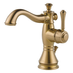 "Delta - Delta 597LF-CZMPU Cassidy Single-Handle Lavatory Faucet (Champagne Bronze) - Delta 597LF-CZMPU Cassidy Single-Handle Lavatory Faucet with pop-up (Champagne Bronze). The Delta 597LF-CZMPU is part of the Cassidy Series. This single-handle lavatory faucet features a metal pop-up assembly, a solid brass fabricated body, and a 6-13/16"" tall 5-13/32"" long spout. Its single lever handle allows you to have precise control of the temperature and volume of your water, and it can be center-mounted or mounted on 4"" centers with the included optional escutcheon. This faucet has a 1.5 GPM flow rate, and 1/2"" NPS threaded male inlet shanks. This model comes in an elegant, Champagne Bronze finish."