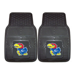 Fanmats - Fanmats Kansas 2-piece Vinyl Car Mats - Protect the floors in your car and show off your school spirit at the same time with these vinyl car mats. These mats feature the officially licensed Kansas design with team colors. Each mat is made of permanently molded vinyl for durability.