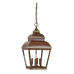 The Great Outdoors - The Great Outdoors GO 8268 4 Light Outdoor Pendant from the Mossoro Collection - Traditional / Classic 4 Light Outdoor Pendant from the Mossoro CollectionThis beautiful 4 light pendant features a traditional / classic design from the Mossoro collection.  This fixture requires four 60 watt candelabra base bulbs and would be a perfect complement to any home or business exterior.The Mossoro collection by The Great Outdoors will add a beautiful touch to any outdoor space. This collection has a warm and familiar look that features the Mossoro walnut with silver highlights finish. This eight piece collection offers strength and durability while maintaining a soft side designed to fit any home.Features: