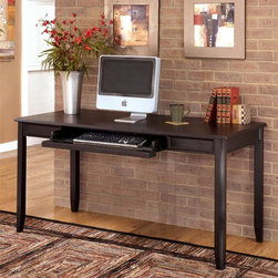 Signature Design by Ashley - Large Leg Desk in Black - Color/Finish: Black. Constructed with select Veneers and Hardwood solids. Satin Nickel finish hardware. Pull-out keyboard tray in keyboard base. Assembly Instructions. From Floor to Apron: 24 3/4 in.. Keyboard Tray: 27 3/4 in. W x 15 in. D x 2 1/4 in. H. Overall Dimensions: 60 in. W x 28 in. D x 30 in. H