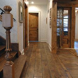 "Glen Ellyn Home - 7-1/4"" wide plank solid Vintage grade French Oak hardwood floor, custom Gray color, hand scraped, hand beveled (Tuscany Design), hand distressed, triple hard-waxed."