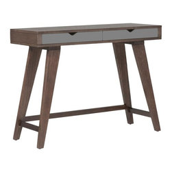 Euro Style - Daniel Console Table - Dark walnut-stained ash veneer on MDF. Gray painted MDF drawer. Solid wood legs, dark walnut stain. Solid wood base. Includes 2 drawers for storage. Color/Finish: Walnut/Gray. 40 in. L x 14.5 in. W x 30 in. H