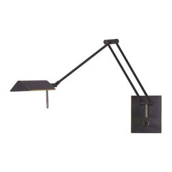 "Holtkoetter - Low Voltage Halogen Swingarm Wall Sconce No. 8191/1 by Holtkoetter - Function reigns supreme in the Holtkoetter Low Voltage Halogen Swing-Arm Wall Sconce No. 8191/1. The fixture extends 29"" out and is capable of adjusting left and right to provide the very best in bright task lighting. Create a more ambient light by using the full range dimmer located on the wall plate.Influenced by Bauhaus principles of ""form follows function"" design, German company Holtkoetter is dedicated to providing highly sophisticated yet streamlined lighting with both strong engineering and a smooth, modern aesthetic. Holtkoetter lighting fixtures have been assembled for U.S. market in St. Paul, Minnesota since 1983.The Holtkoetter Low Voltage Halogen Swing-Arm Wall Sconce No. 8191/1 is available with the following:Details:  Brass shadeBrass supports Heavy weighted swivel and brass tubing prevent sagging Low voltage transformer includedLight output equivalent to about one 100 Watt incandescent lamp Full range dimmer on wall plateMade in Germany; assembled in the USAUL ListedOptions:  Finish: Hand-Brushed Old Bronze, Polished Brass and Brushed Brass, or Satin Nickel.Care Instructions:Use only a soft, dry cloth to clean. If necessary, a slightly damp, soft cloth can be used to spot clean. Do not use common household cleaners on lamps or fixtures, as the lacquer on the outside of the brass may be damaged as a result.Lighting: One 50 Watt 12 Volt Gy6.35 IRC Type Low-voltage Halostar lamp (included).Shipping:This item usually ships within 3 to 5 business days."