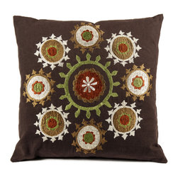 """de-cor - Psychedelic Canvas Suzani, Brown / Chakras - The psychedelic Suzani Pillow is a beautiful addition to any living space. Suzani in Persian means """"needle work"""" and the cotton based square Suzani features intricate embroidery with silk threading."""
